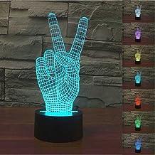 Lámpara 3D, VSOAIR Luces de Noche 3D LED USB Touch con 7 Luces de Escritorio de Iluminación óptica de Color para la Decoración de la Habitación de Los Niños (Dedo)
