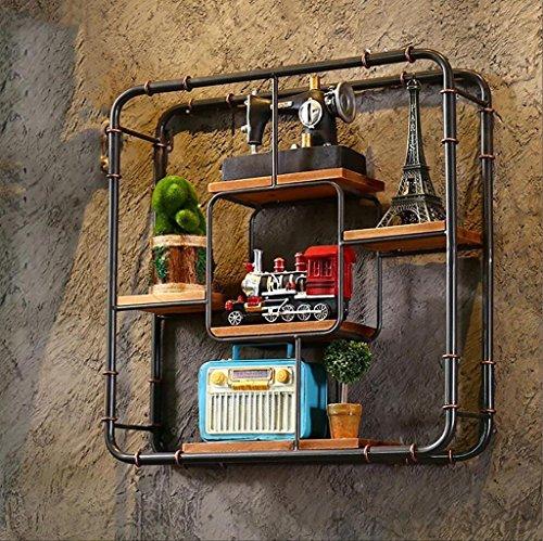Mikrowelle Wandhalterung Regal (Wandregal Loft Industrial Retro Möbel Bücherregal Wasserpfeife Eisen Rahmen Racks Kreative Display Regale (61cm * 16cm * 61cm) Wandhalterung Ablage)