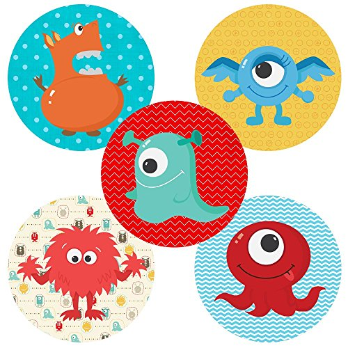 Adorebynat Party Decorations - EU Kleine Monster-Aufkleber-Aufkleber - Kind-Jungen-Mädchen-Geburtstags-Babyparty-Partei-Bevorzugung Supplies - Set 50 (Geburtstag-partei-bevorzugungen Für Kleinkinder)