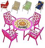 Unbekannt 9 TLG. Set: Gartenmöbel mit 4 Stühle und Tisch + 4 Stuhlauflagen -  BUNT  - incl. Name - Plastik / Kunststoff - Miniatur - Möbel Set - z.B. für Puppenstube ..