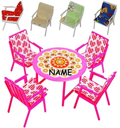 9 tlg. Set: Gartenmöbel mit 4 Stühle und Tisch + 4 Stuhlauflagen -