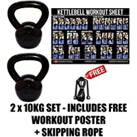 FXR 2 x 10KG KETTLEBELLS STRENGTH TRAINING HOME GYM FITNESS KETTLEBELL SET