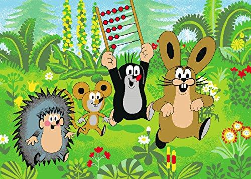 Wandteppich Teppich (Kinder Teppich mit Pauli Der kleine Maulwurf - mit seinen Freunden - Maus - Hase - Igel)