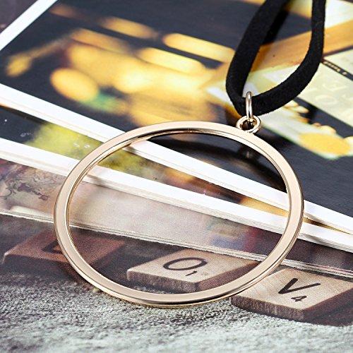 Flongo Mode Ras du Cou Collier Alliage Velours Choker Vintage Multi-choix Etendu Réglable Couleur Noir Charme Bijoux Cadeaux pour Femme grand anneau