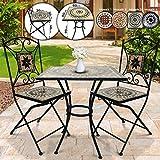 Jago Tavolo e Sedie Mosaico - Set Rotondo o Quadrato, 2 Sedie, in Ceramica, Struttura in Acciaio, Modello a Scelta - Set Mobili da Esterno, Giardino, Tavolino e Sedie da Balcone