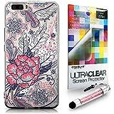 CASEiLIKE Vintage Rose y plumas Beige 2251 Bumper Prima Híbrido Duro Protección Case Cover Funda Cascara for Huawei Honor 6 Plus +Protector de Pantalla +Cristal Stylus plumas (Color al azar)