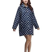 Donne Rainwear Impermeabile Pioggia Moda Giovane Manica Lunga con Cappuccio Tasca di Polka Dots Fashionable Poncho All…