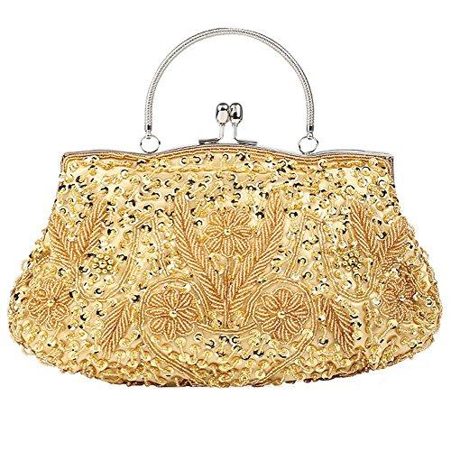 damen abendtasche perlen pailletten satin dinner party clutch taschen. 30 x 26cm gold