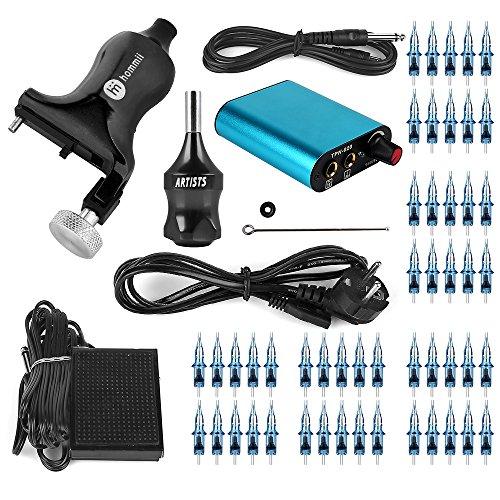 #Hommii 2-In-1 Pro. Rotary Tattoo Machine Tattoomaschine Tätowierung Maschine Gun Kits für Körper Kunst Ausrüstung, Geräuscharm, 3.5 mm Hublänge, Raum Aluminium,Unibody, 7-10 V, +50 Stk. Blaue Sterile Einweg Tattoonadeln Tätowiernadeln Tattoospitze Cartridges 1,3,5,7,9 RL#