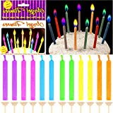 German Trendseller® - 12 x bougies d'anniversaire┃flammes colorées┃petits bougies┃ l'anniversaire d'enfant┃gâteau l'anniversaire┃ 12 bougies