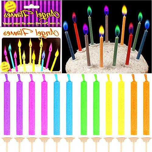 German Trendseller® - 12 x Magische Geburtstags - Kerzen mit - farbigen Flammen -┃ Kindergeburtstag ┃ Geburtstags - Kuchen ┃ Engel´s Flammen ┃ 12 Kerzen