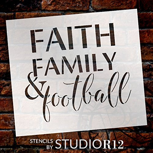 Jeremyhar75placca cartello in legno appeso regali faith family, football stencil riutilizzabili mylar modello, uso di vernice legno segni, tshirts, diy sports decor, scegli taglia