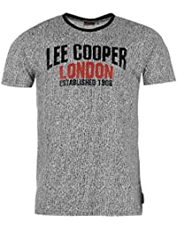 Lee Cooper Herren All Over Print Large Logo T Shirt Tee Top Rundhals Kurzarm