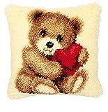 Knüpfkissen - Bärchen mit Herz --- Gewebe 100% Baumwolle -