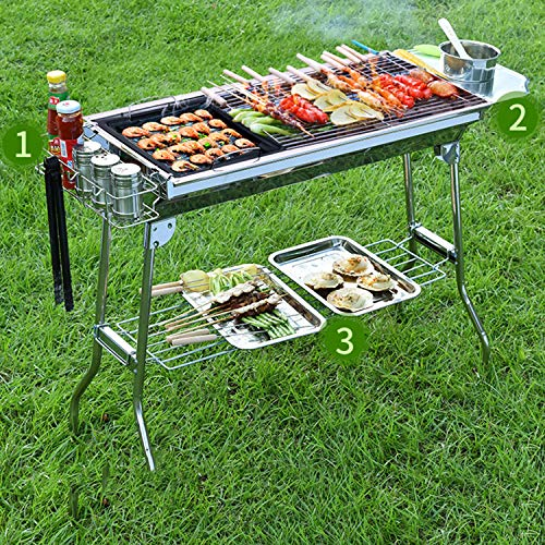 YANGLAN BBQ Grill, Holzkohlegrill, Außengrill, Tragbarer Klappgrill, Deluxe Ofen, Camping/Party/Picknick -