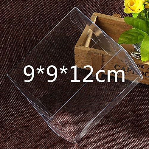 50 PZ Scatola PVC trasparente VARIA MISURA Portaconfetti BOMBONIERA Confezione Regalo (9*9*12cm)