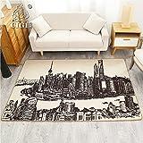 GRENSS Das alte Shanghai Szenerie Design Creative Home Teppich dünne Decke Schlafzimmer Wohnzimmer Bodenbelag Rutschfeste Matte Flur Teppich, Stadt, 80 cm 130 cm