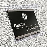 Metzler-Trade Edelstahl Türklingel - Mit Beschriftung/Gravur - LED-Klingeltaster - Farbe: Anthrazit - zur Unterputz-Montage - Befestigungsmaterial optional wählbar - Produktmaße: 110 x 80 mm