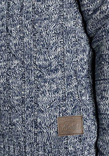 SOLID Philemon Herren Strickpullover Grobstrick Pulli mit Rundhals-Ausschnitt aus 100% Baumwolle Meliert Insignia Blue (1991)