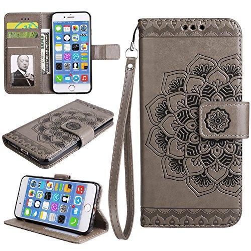 Coque iPhone 8, Coque iPhone 7, Étui en Cuir de Protection Housse Étui iPhone 8 / 7, Mandala Coque iPhone 8 / 7 Wallet Housse, BONROY PU Leather Case Wallet Flip Protective Cover Protector Pour iPhone Gris