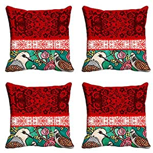 Designer Birdie Tradional Cushion Cover (12x12)- Set of 4