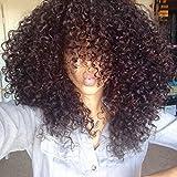 WINBOWIG 8A Épais cheveux bouclés Full Lace Perruque Brésilienne Vierge Cheveux Humains Lace Front perruques Naturelles Non traitées Noir Couleur 150% Densité Lace Wigs(12INCH,LACE FRONT WIG)