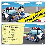 (20 x) Einladungskarten Kindergeburtstag Polizei Einschulung Geburtstag Einladungen