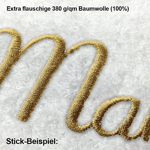 Bademantel mit Namen Götz bestickt - Initialien und Name als Monogramm-Stick - Größe wählen White