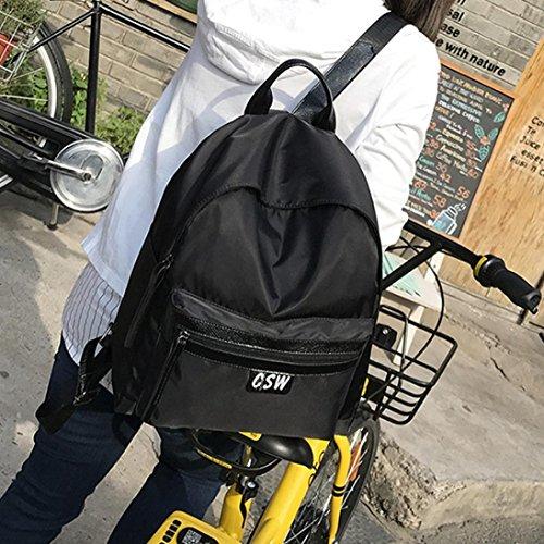 Moda Donna Oxford Solid School Borse Viaggio Zaino Borsa di Kangrunmy Nero