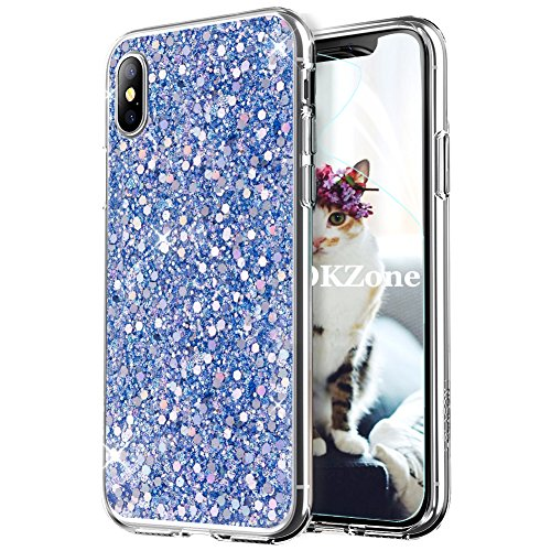 OKZone iPhone XS Max Phone Case [with HD Screen Protector], Luxury Bling Glitter Sparkle Design Slim Fit Soft Gel TPU Silicone Skin Cover Case for Apple iPhone XS Max 6.5 Inch (Blue)