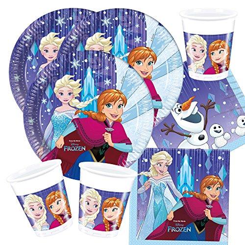 Preisvergleich Produktbild 52-teiliges Party-Set Frozen die Eiskönigin - Snowflakes - Teller Becher Servietten mit Anna Elsa und Olaf für 16 Kinder Neues Design 2017