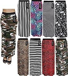 Ladies Women's Leopard Stripe Skulls Camo Multi Print Gypsy Long Jersey Maxi Dress Skirt Size 8-26