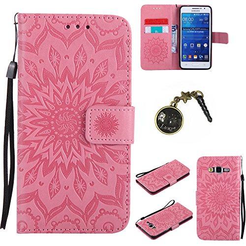 Preisvergleich Produktbild für Galaxy Grand Prime/SM-G530 G531F Hülle, Klappetui Flip Cover Tasche Leder [Kartenfächer] Schutzhülle Lederbrieftasche Executive Design (+Staubstecker ) (7)