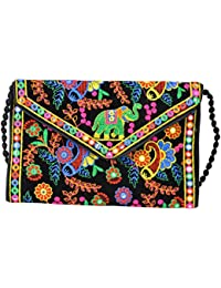 Women Kutchi Style Tussar Base Mirror Embroidery Clutch by SHOP FRENZY