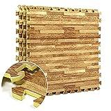 FunkyBuys® Bodenfliesen, Holzeffekt, ineinandergreifend, EVA-Schaumstoff, Bodenmatten, für Sporthalle, Garage, Kinderspiel-Matten, Größe jeder Fliese 60x 60cm, 24 Pack (96 Sq.Ft)