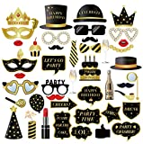 Birthday Photo Booth Props, 44pcs Funny Birthday Selfie Props Party Props, Suitable for 18th Birthday Photo Booth Props, 21st Birthday Props, 30th Birthday Props, 40th Birthday Props and More