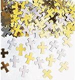 Confettis Metallic Silver and Gold Crosses