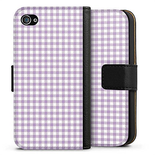 Apple iPhone X Silikon Hülle Case Schutzhülle Karomuster Flieder Lila Sideflip Tasche schwarz