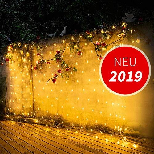 Fuumiy LED Lichternetz Lichtervorhang Lichterketten Gartenbeleuchtung 3x2m/192LEDs,Wasserdicht Warmweiß Deko Leuchte,Innen und Außen Balkon Weihnachten Baumbeleuchtung Hochzeit,mit Stecker Dauerlicht