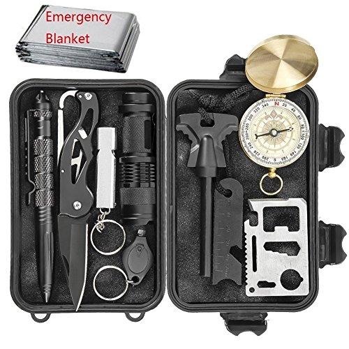 Outdoor Survival Kit, Multifunktions Notfall Selbsthilfe Werkzeuge Survival Tool Set für Reisen Outdoor Camping Wandern NotÜBerlebens, Klappmesser, Taschenlampe,Rettungsdecken, Kompass,Tactical Pen,Su
