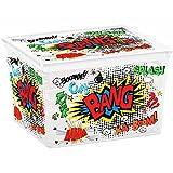 Kis 8419100 2097 01 Boîte de Rangement C Box Style Cube Comics 27 litres Plastique, Multicolore, 40x34x25 cm