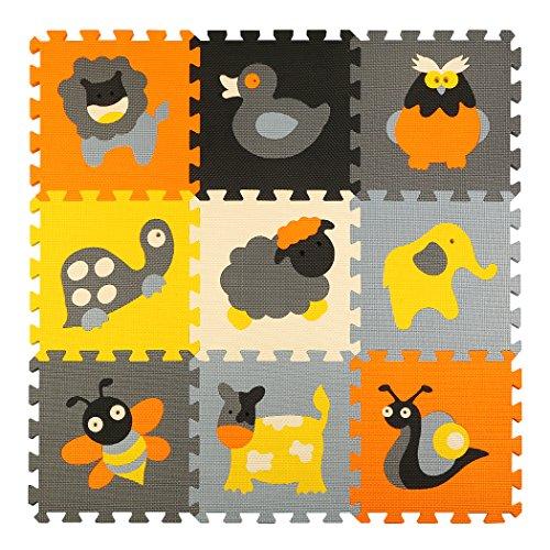 Puzzlematte Tiere Puzzleteppich Baby Puzzlematte Schadstofffrei Bodenpuzzle Schaumstoff Puzzlematte Schadstofffrei 9 Stück 87x87x1cm(35x35x0.4 inch) meiqicool 011