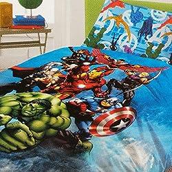 Marvel - Juego de sábanas Completo de Los Vengadores, para Cama de una Plaza, de algodón, Color Azul, 150 x 290/90 x 200/50 x 80 cm