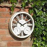 Blanc Horloge murale de jardin Baromètre Thermomètre humidité Mètre Intérieur ou extérieur 38,1cm