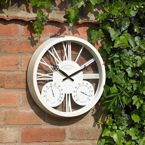 """Wei� Garten Wanduhr Barometer Thermometer Feuchtigkeitsmesser Innen-draussen 15 \"""""""