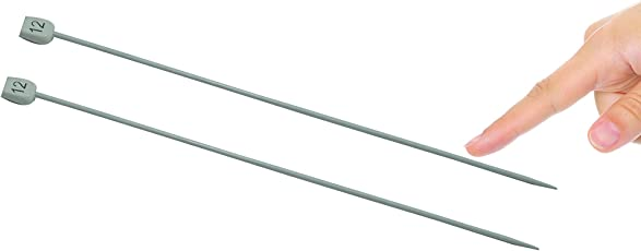 Knitting Needle - No 12, Dia - 3mm, Length - 25 cm, Pair of 2, Aluminium, for Making Woolen Artefacts Like Sweaters, muflers, caps