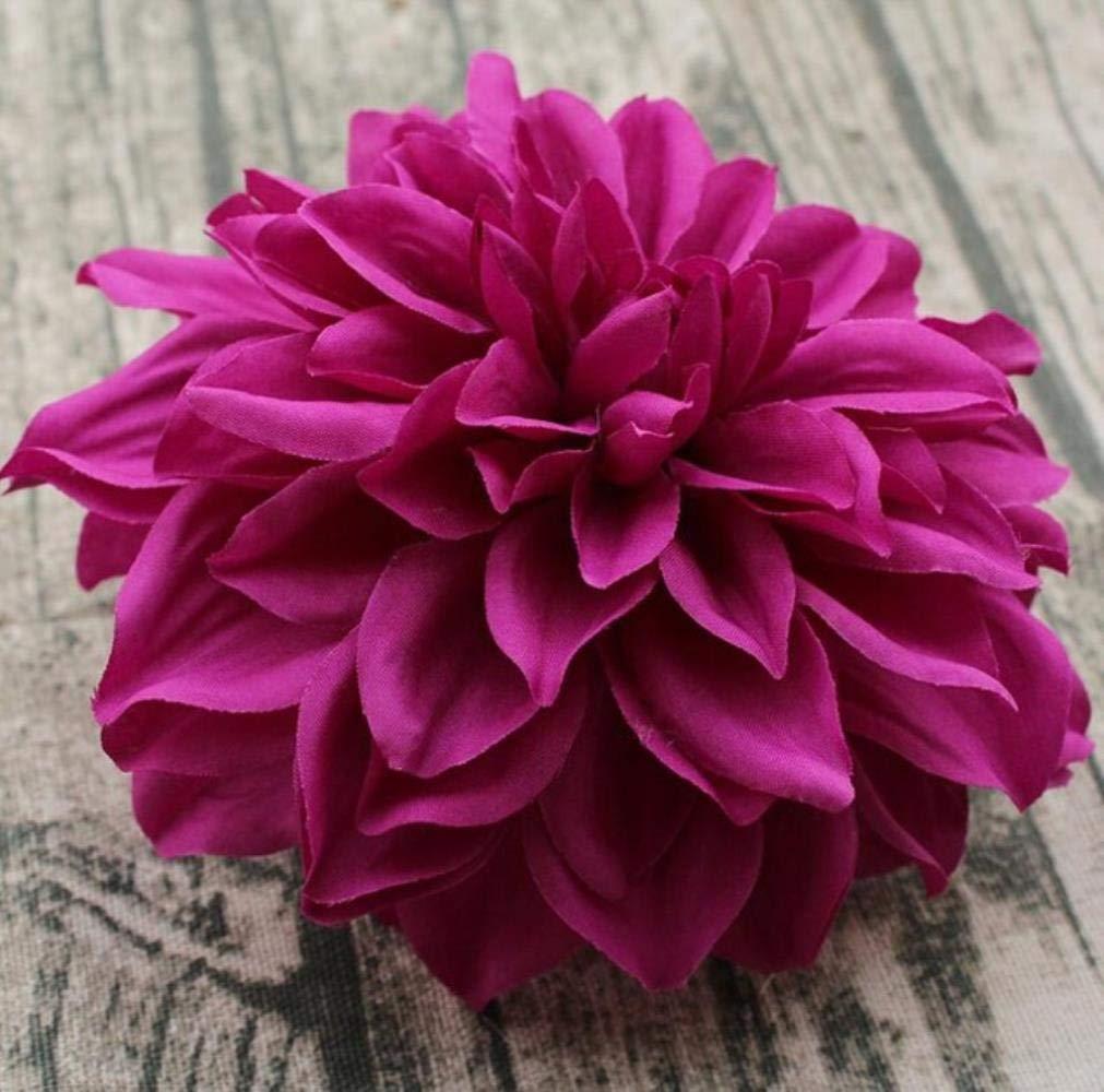 SUXIAO 15CM Tocado de Ramillete de Seda Artificial Grande Dalia crisantemo Flores Hechas a Mano DIY decoración para el…