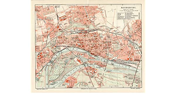 Theprintscollector Antique Map Magdeburg Elbe Germany Meyers 1895