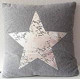Dekokissen Sterne 45 x 45 cm Kissen mit Füllung Sterndruck (Grau/Silber)