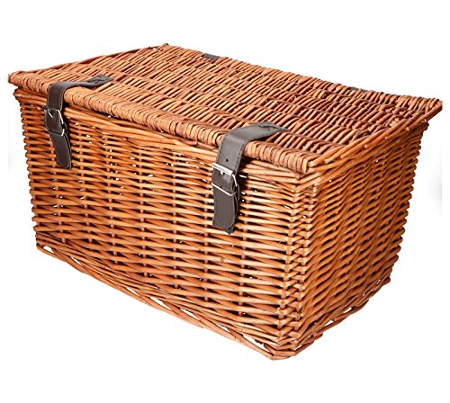 habeig Retro FAHRRADKORB WEIDENKORB Bäckerkorb Rattan Korb mit Deckel Fahrradtasche (Braun) -